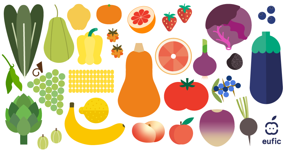 different fruit and vegetables icons