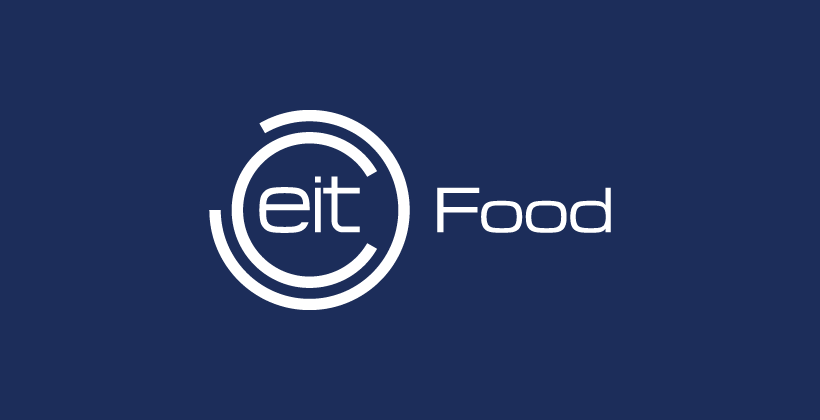 White EIT Food logo with blue background