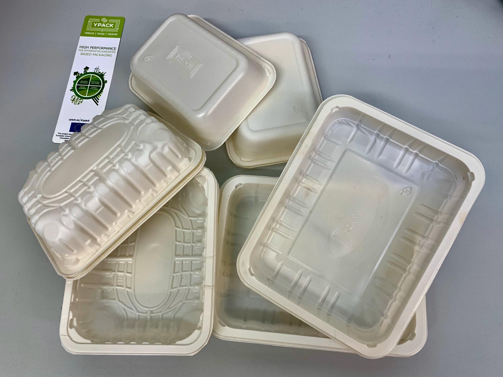 The compostable plastic trays produced for the Horizon 2020 YPACK project