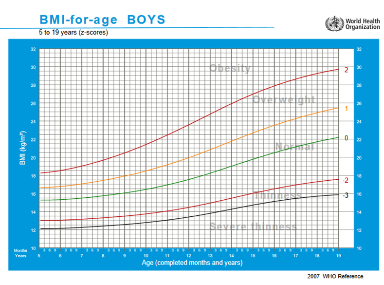 BMI for boys age 5 to 19