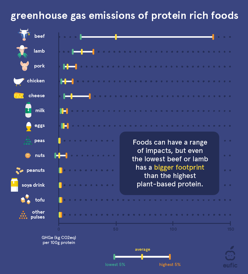 Green house gas emissions (GHGe) of protein rich foods