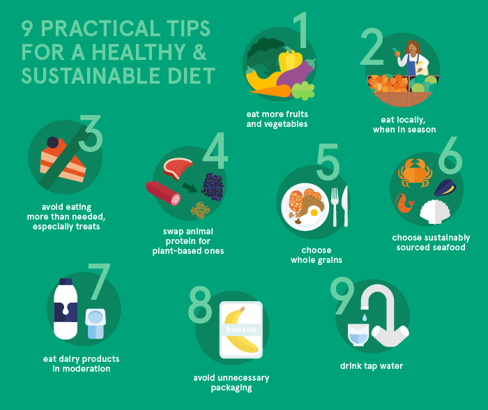 9 practical tips for a healthy and sustainable diet
